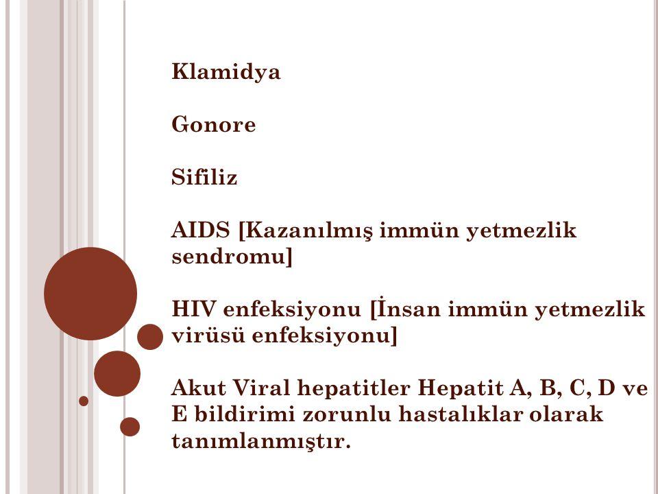 Klamidya Gonore. Sifiliz. AIDS [Kazanılmış immün yetmezlik sendromu] HIV enfeksiyonu [İnsan immün yetmezlik virüsü enfeksiyonu]